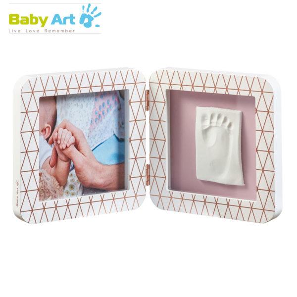 Baby Art - Двойна рамка за снимка и отпечатък с декорация бяло/розово 00011