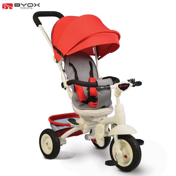 Byox Bikes - Триколка със сенник и родителски контрол QUEEN Червена 106318
