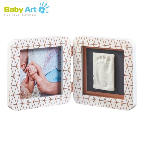 Baby Art - Двойна рамка за снимка и отпечатък с декорация бяло/сиво 00011