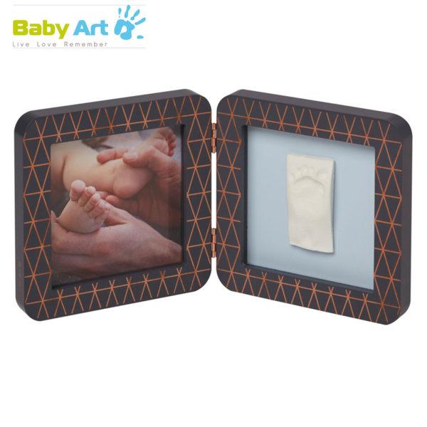 Baby Art - Двойна рамка за снимка и отпечатък с декорация сиво/синьо 00011