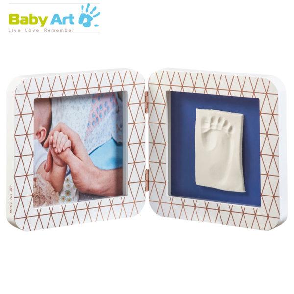 Baby Art - Двойна рамка за снимка и отпечатък с декорация бяло/тъмносиньо 00011