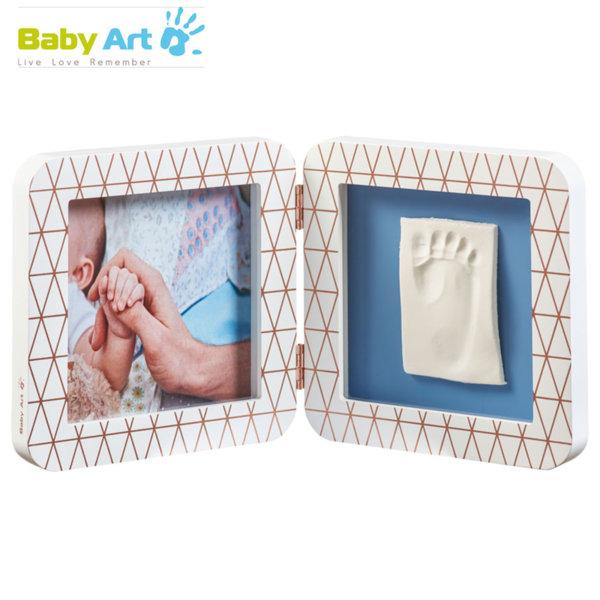 Baby Art - Двойна рамка за снимка и отпечатък с декорация бяло/синьо 00011