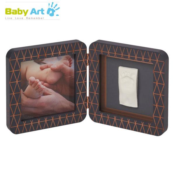 Baby Art - Двойна рамка за снимка и отпечатък с декорация сиво/сиво 00011