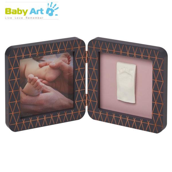 Baby Art - Двойна рамка за снимка и отпечатък с декорация сиво/розово 00011