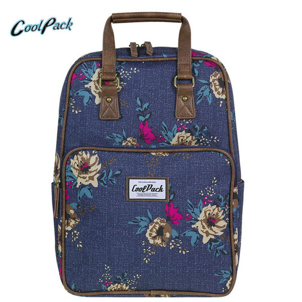 Cool Pack Cubic - Ученическа раница Blue denim flowers A093