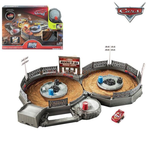 Mattel - Disney Cars Преносима сгъваема писта за мини колички Crank & Crash FLG71