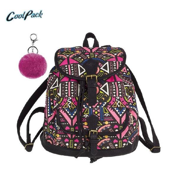 Cool Pack Fiesta - Ученическа раница с помпон Pink Ethnic A134