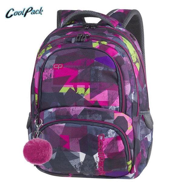 Cool Pack Spiner - Ученическа раница с помпон Pink Abstract A080