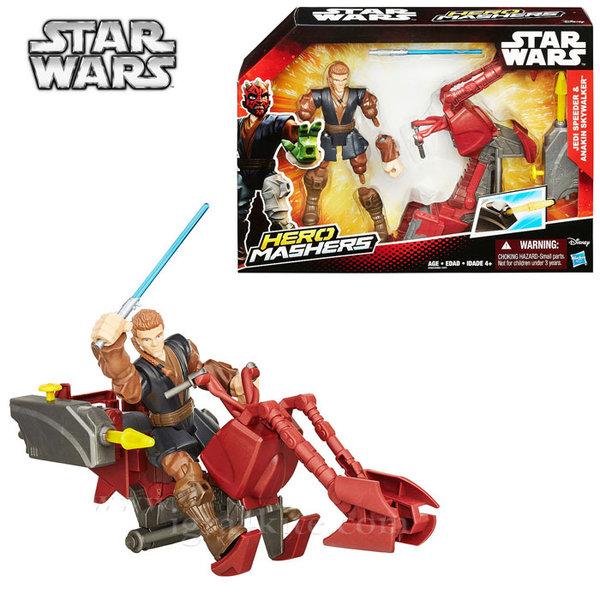 Hasbro Star Wars - Hero Mashers Комплект фигурка и боен кораб Jedi Speeder & Anakin Skywalker b3831