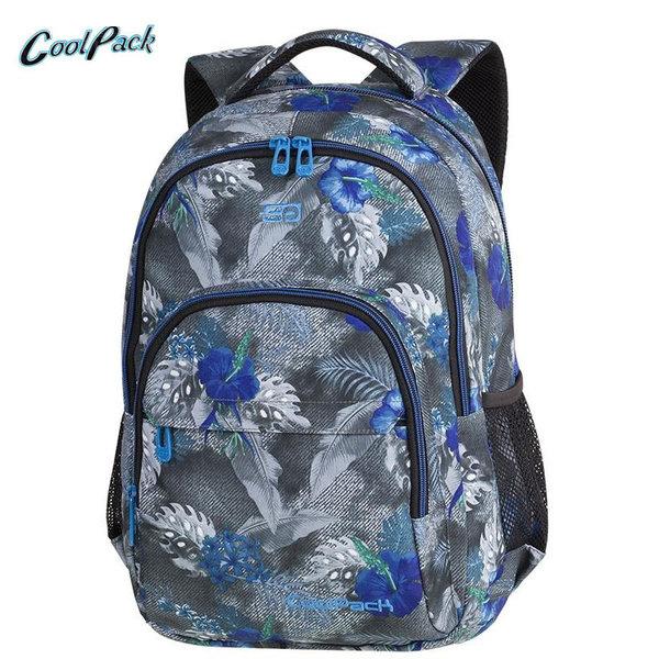 Cool Pack Basic Plus - Ученическа раница Blue Hibiscus A142
