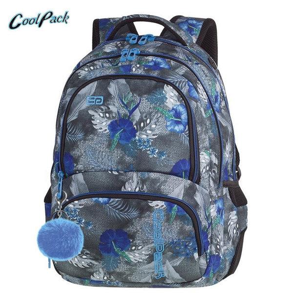 Cool Pack Spiner - Ученическа раница с помпон Blue Hibiscus A078
