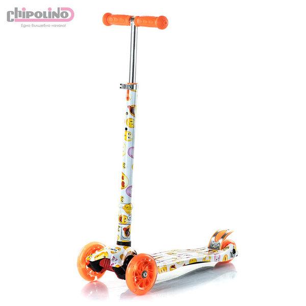 Chipolino - Детска тротинетка Кроксър със светещи колела оранжева