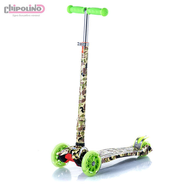 Chipolino - Детска тротинетка Кроксър със светещи колела зелена