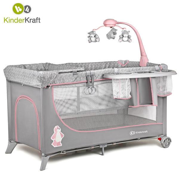 KinderKraft - Бебешка сгъваема кошара 2 нива Joy full pink 99238