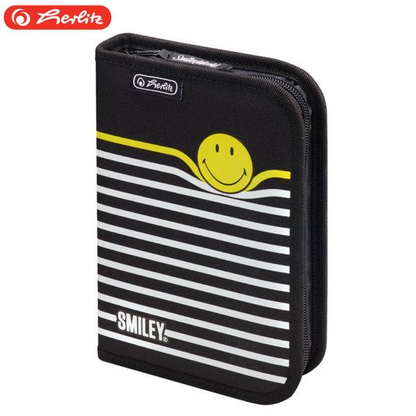 Herlitz - Ученически несесер 1 цип 19 части Smiley B&Y Stripes 50015382