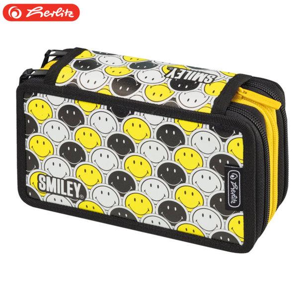 Herlitz - Ученически несесер 3 ципа Smiley B&Y Faces 50015436