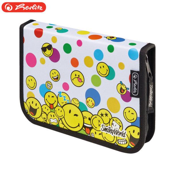 Herlitz - Ученически несесер 1 цип 19 части SmileyWorld Rainbow Faces 50015375