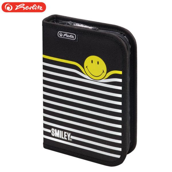 Herlitz - Ученически несесер 1 цип Smiley B&Y Stripes 50015405