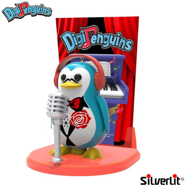 Silverlit - DigiPenguins Дигитален пеещ и танцуващ пингвин със сцена и микрофон син 88347