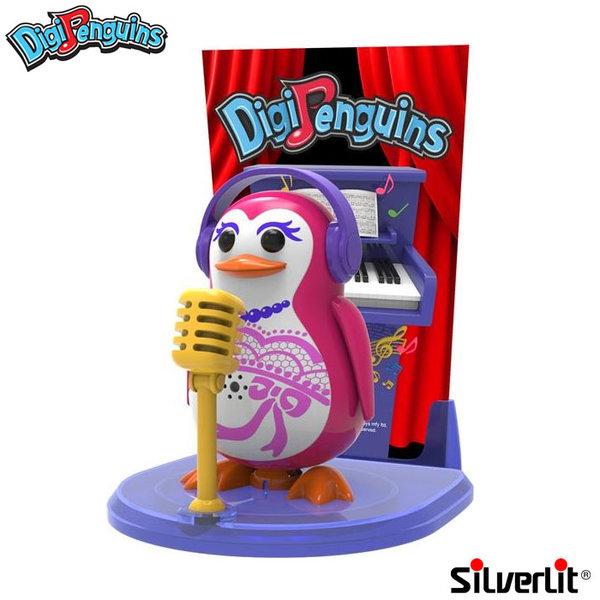 Silverlit - DigiPenguins Дигитален пеещ и танцуващ пингвин със сцена и микрофон розов 88347