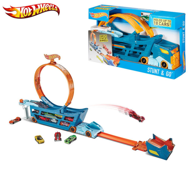 Hot Wheels - Автовоз с писта и лупинг Stunt & Go DWN56