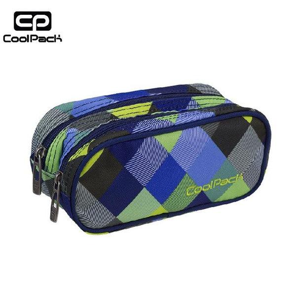 Cool Pack Clever - Ученически несесер 2 ципа Blue Patchwork A500