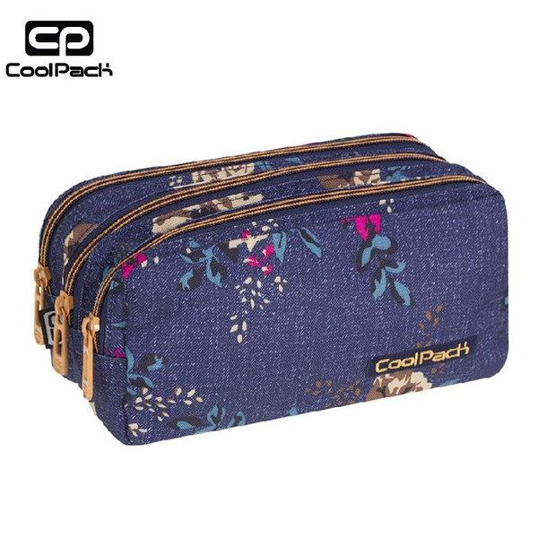 Cool Pack Primus - Ученически несесер 3 ципа Blue Denim Flowers A056