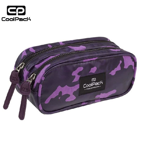 Cool Pack Clever - Ученически несесер 2 ципа Camo Violet A555