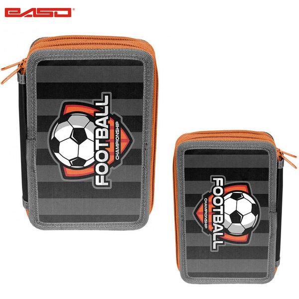 Paso Football Grey - Ученически несесер с 2 ципа Футбол 18-023FB/BW