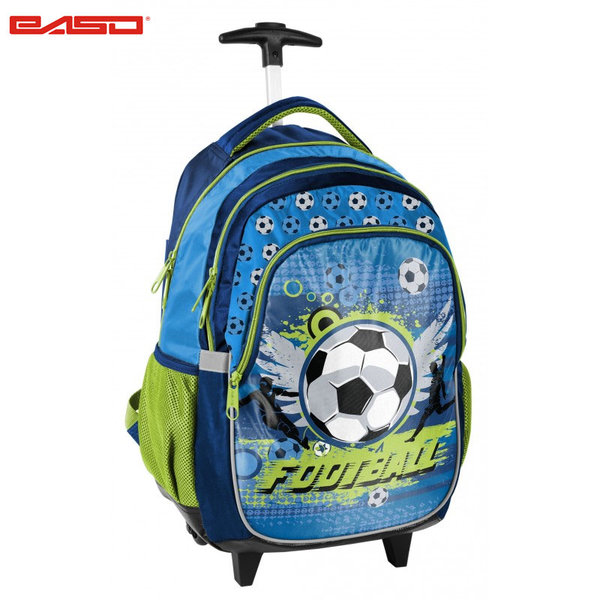 Paso Football Blue - Ученическа раница на колела Футбол 17-997X