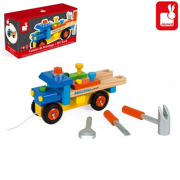 Janod - Дървен камион конструктор Brico Kids j05022