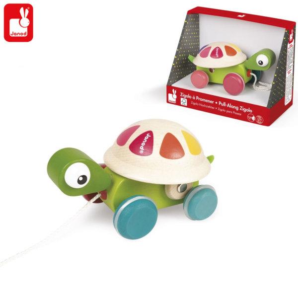 Janod - Дървена костенурка за дърпане J08236