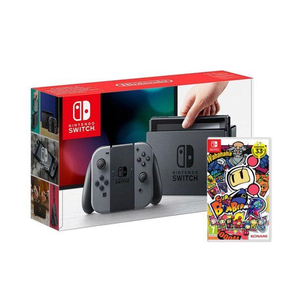 Nintendo Switch with Grey Joy-Con Controllers + Super Bombеrman R
