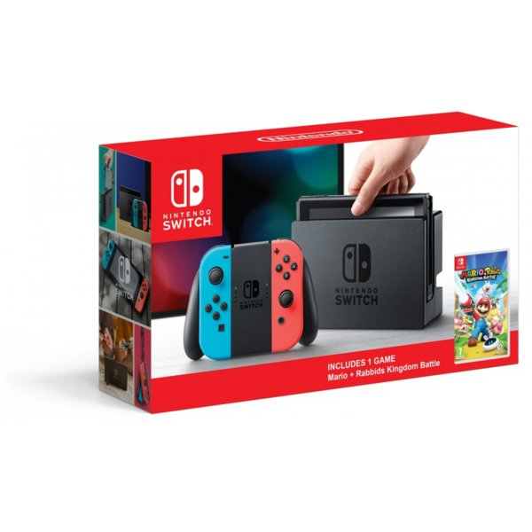 Nintendo Switch with Neon Blue / Neon Red Joy-Con Controllers + Mario + Rabbids: Kingdom Battle