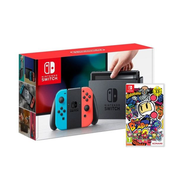 Nintendo Switch with Neon Blue / Neon Red Joy-Con Controllers + Super Bombеrman R