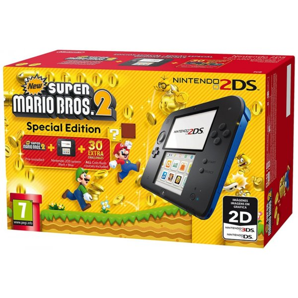 Nintendo 2DS Black & Blue + New Super Mario Bros 2
