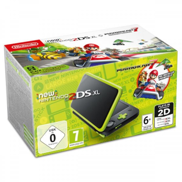 Nintendo 2DS XL Black and Lime Green + Mario Kart 7