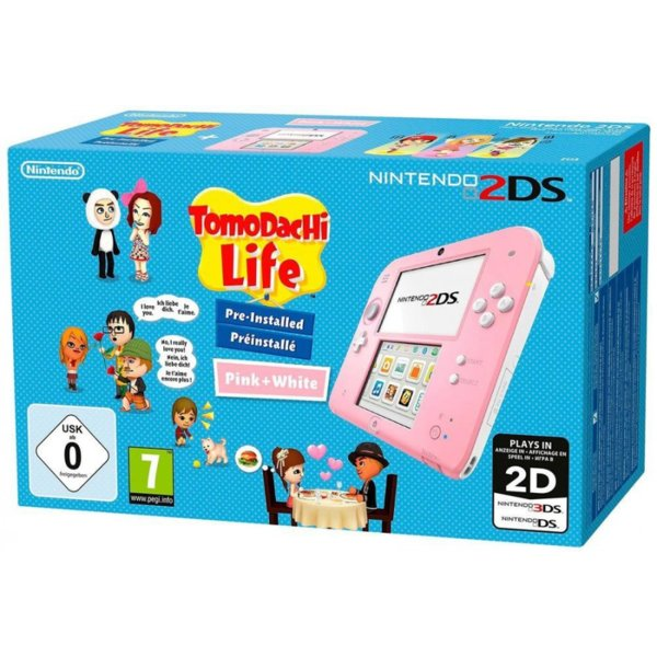Nintendo 2DS Pink and White + Tomodachi Life