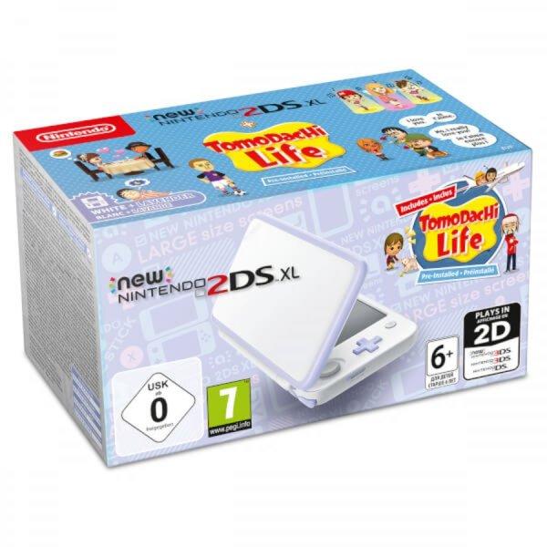 Nintendo 2DS XL White and Lavender + Tomodachi Life