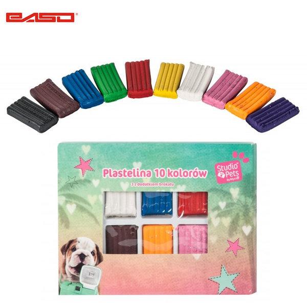 Paso Studio Pets - Комплект пластилин 7+3 блестящи цвята Студио петс PEG-3011