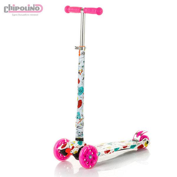 Chipolino - Детска тротинетка Кроксър със светещи колела розова