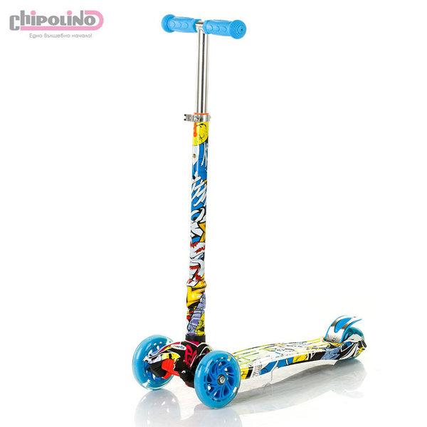 Chipolino - Детска тротинетка Кроксър със светещи колела синя