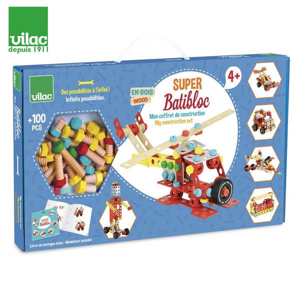 Vilac - Дървен конструктор Batibloc 100 части 2126