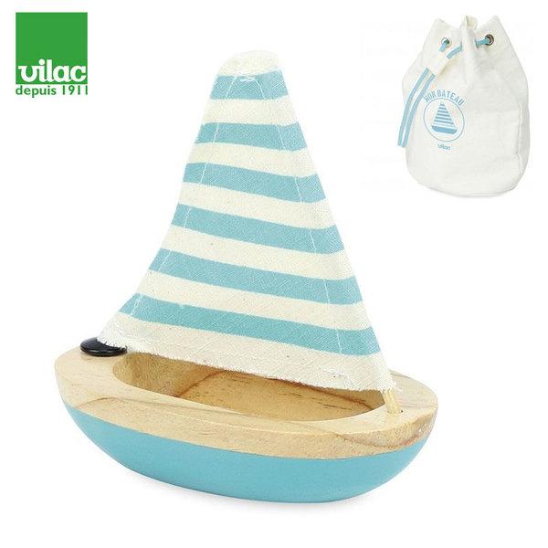 Vilac - Дървена лодка синя 2901B