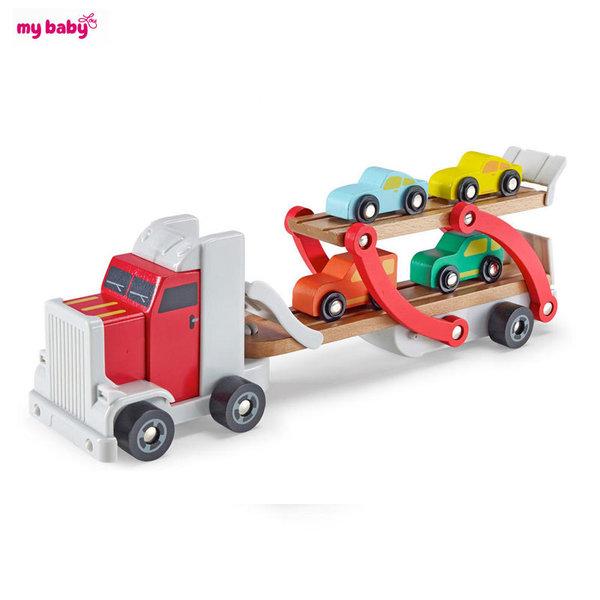 My Baby - Дървен автовоз с колички 10092210