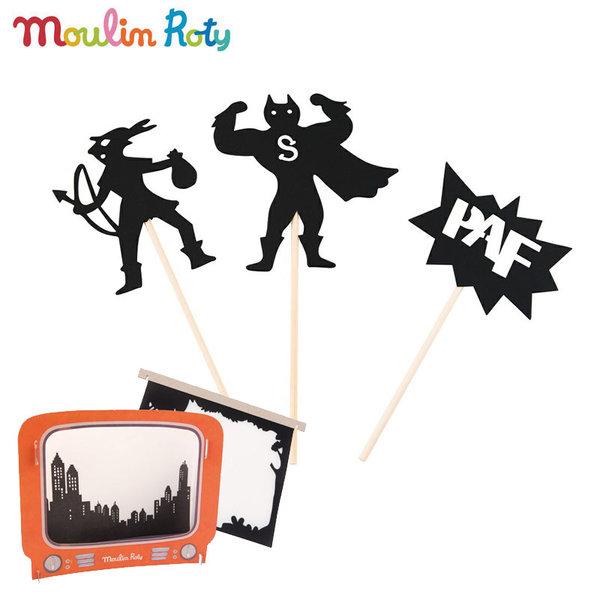 Moulin Roty - Комплект за театър сенки в мрака Телевизор 711093