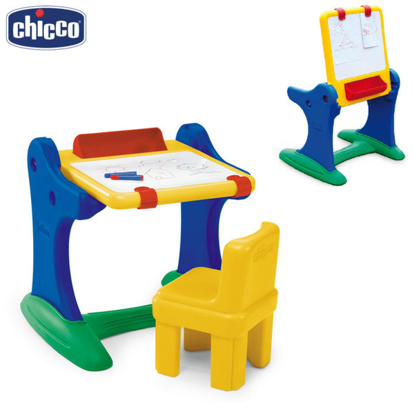 Chicco - Детски чин с дъска за рисуване 2в1 и столче 30401