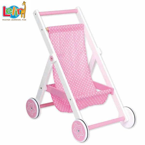 Lelin Toys Дървена лятна количка за кукли 31007