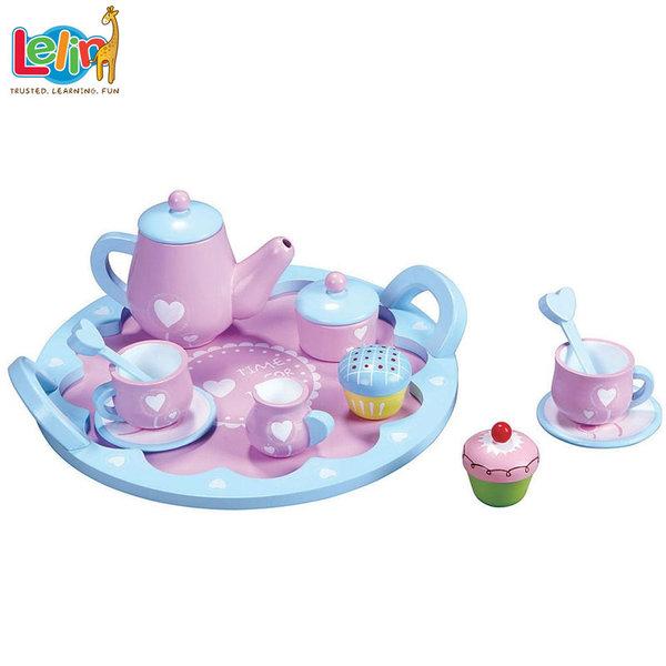 Lelin Toys - Дървен сервиз за чай Сърца 40002