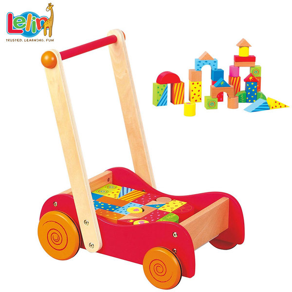 Lelin Toys - Конструктор и количка за прохождане 2в1 10005